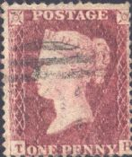 1857 1d Red SG40 Plate 43 'TH'